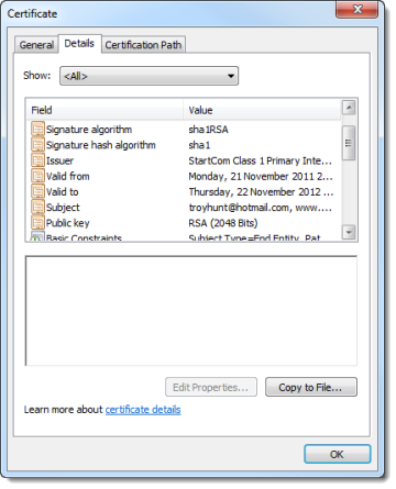 Certificate details for ASafaWeb loaded in the browser
