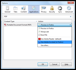 Changing the Default PDF Reader in Firefox