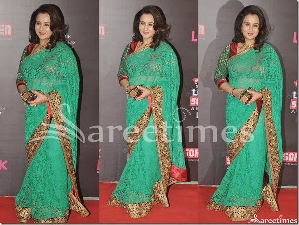 Poonam_Dhillon_Green_Embellished_Saree