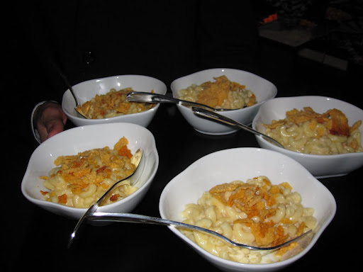 A close-up view of the Mac and Cheese that was served at the party.