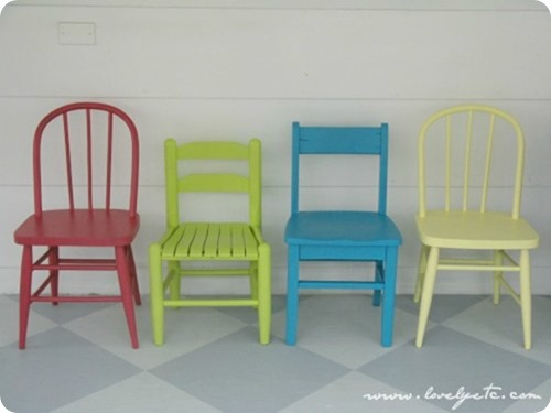 colorful mismatched kid chairs