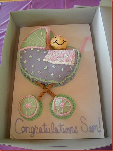 A baby buggy cake I made for my SIL's baby shower.