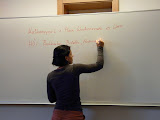 German Professor Lisa Höll Writes a Homework Assignment on the Board