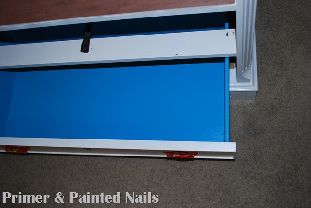 Dresser turned TV Stand Drawers After 2 - Primer & Painted Nails