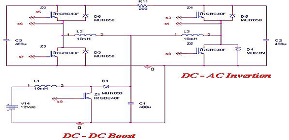 POWER CIRCUTI OF 12V DC TO 220 V 50 Hz AC CONVERSION
