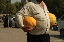 Bought three melons, see? Kuntepa bazaar in Margilan, Uzbekistan
