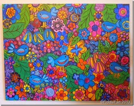 Bright flower and bird painting