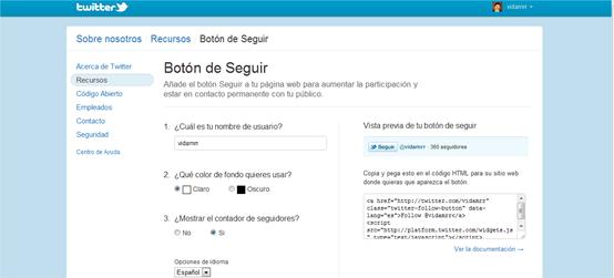 Colocar el botón de Seguir de Twitter en Blogger