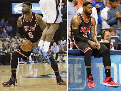 lebron james nba 140409 mia at mem 00 James Debuts New LeBron 11 Away PE and Soldier 7 in Memphis