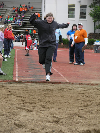 Special Olympics athlete participating in the long jump. (Photo credit: Jeremy Shreckhise)