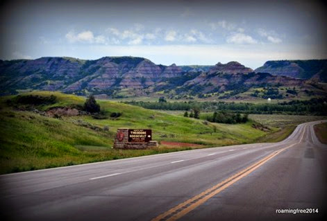 Driving past Theodore Roosevelt National Park