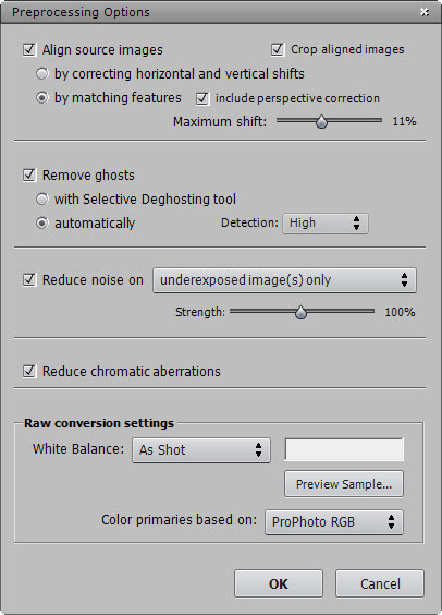 Photomatix Prerocessing Options Dialog