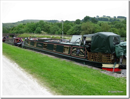 Paul and Lynne moored at Bugsworth basin.