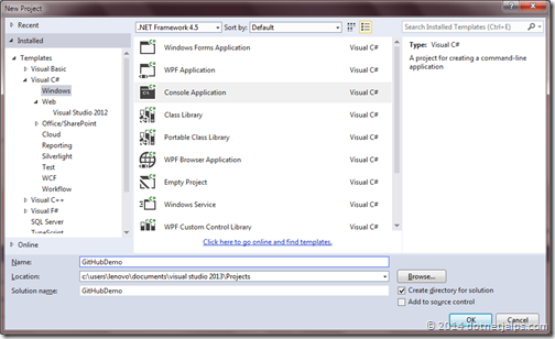 Cosnole application for github, team explorer and visual studio 2013