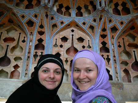 Imam square: Western girls in the Ali Qapu palace