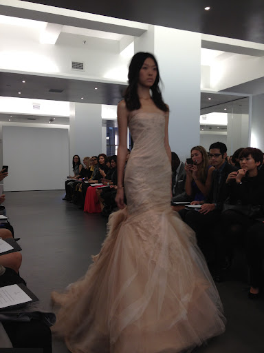 Here, an otherworldly organza and tulle gown.