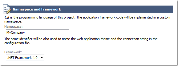 Project namespace configuration in the line-of-business application created with Code OnTime web application generator