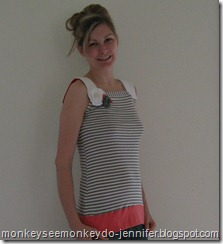 striped spring top made from scraps of t-shirts
