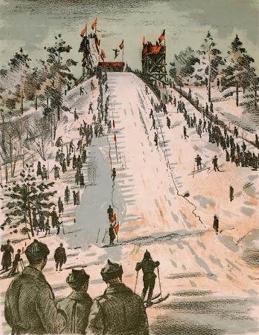 Павлов Семен Андреевич  (Россия, 1893-1941) «Военно-лыжные соревнования» 1940