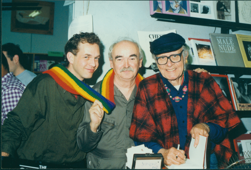 Stuart Timmons (left), Jim Kepner (center), Harry Hay (right). Undated.