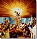 Krishna lifting up Govardhana Hill