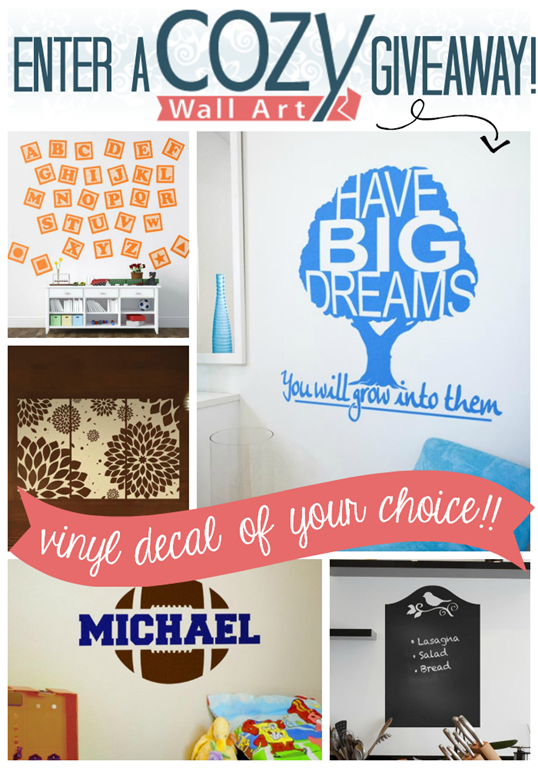 Enter a Cozy Wall Art Giveaway at GingerSnapCrafts.com ~ enter to win a vinyl decal of YOUR choice up to $60 in value