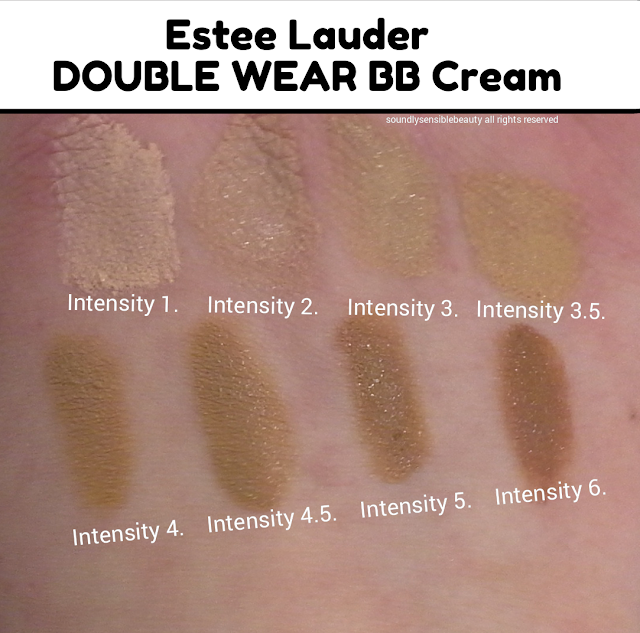 Estee Lauder Double Wear BB Cream, All Day Glow Beauty Balm SPF 35. Review & Swatches of Shades Intensity 1, Intensity 2, Intensity 3, Intensity 3.5,  Intensity 4,  Intensity 4.5, Intensity 5, Intensity 6,