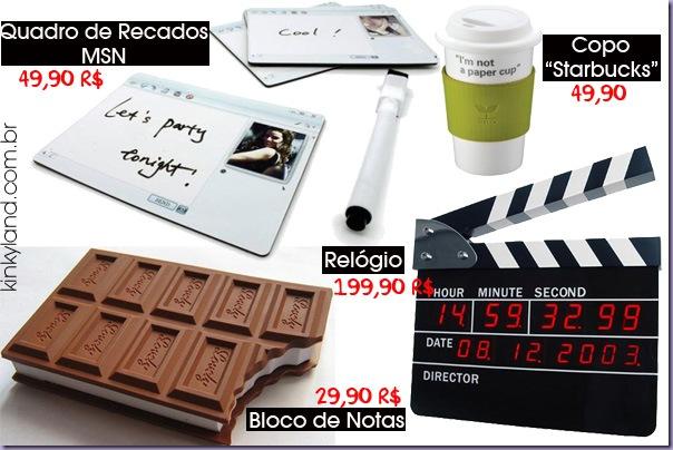 Quadro-Recados-MSN-Copo-Starbucks-Claquete-Relógio-Bloco-Notas-Chocolate-Kinkyland