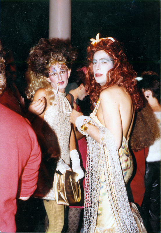 Two drag queens at an event. Undated.