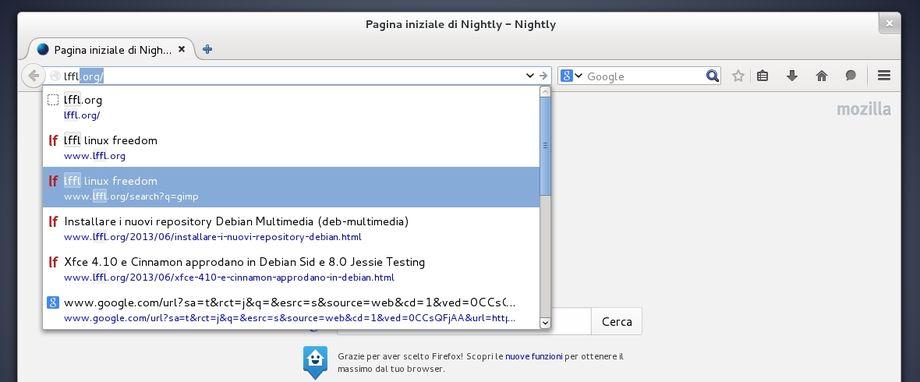 Firefox Nightly completamento automatico barra degli indirizzi