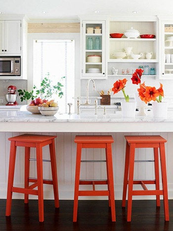 White and Orange Kitchen