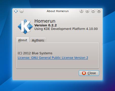 KDE Homerun Launcher 0.2.2 - info