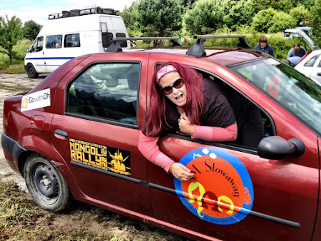 Pamela MacNaughtan in her car on the way to Mongolia