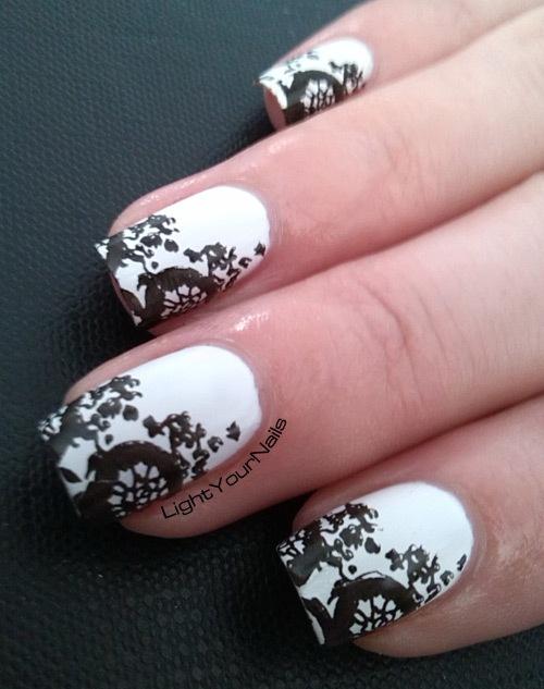 black and white stamping nail art