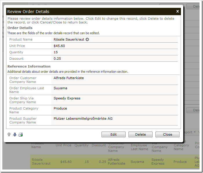 If you select an order detail record, it will show up in a modal window.
