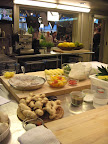 A view of the Martha show's prep kitchen in action, with the studio in the background
