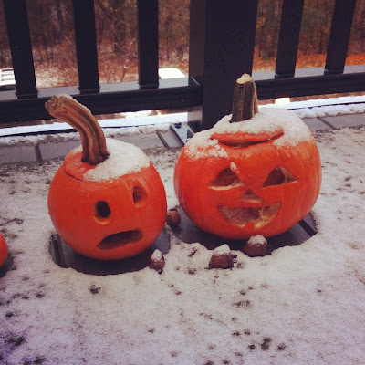 Snow on the Jack-o'-lantern