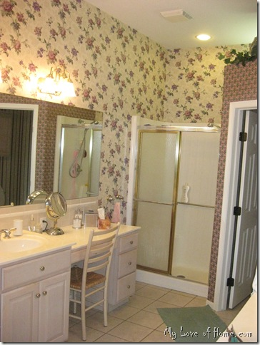 bathroom, removing wallpaper, floral wallpaper