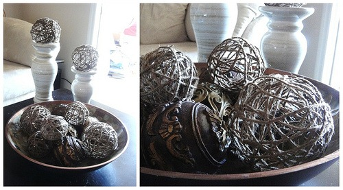 diy projects with jute--make jute balls to use as bowl or vase fillers