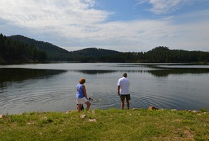 time for a swim break at Stockade Lake on Highway 16A