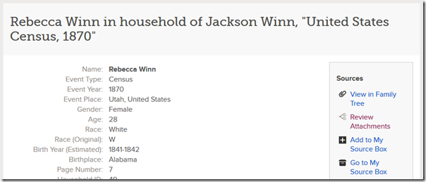 A historical record on FamilySearch.org already attached to the tree