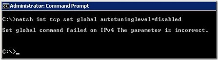 Set global command failed on IPv4 The parameter is incorrect 2