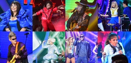 Karla as Sharon Cuneta, Nyoy as Michael Jackson, Tutti as Freddie Aguilar, Maxene as Taylor Swift, Jay-R as Pepe Smith, Jolina as Lady Gaga, EA as Usher, Melai as Nora Aunor