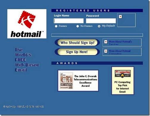 Hotmail diciembre 1996