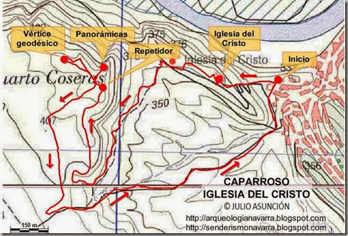 Mapa ruta Caparroso - Iglesia del Cristo