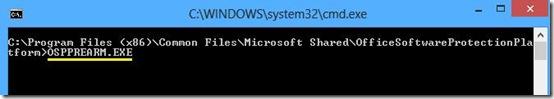 Comando OSPPREARM.EXE per riarmare Office 2013 versione di prova