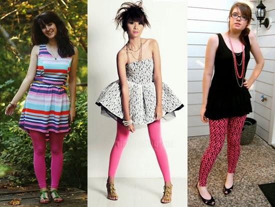 Como usar legging rosa com vestido