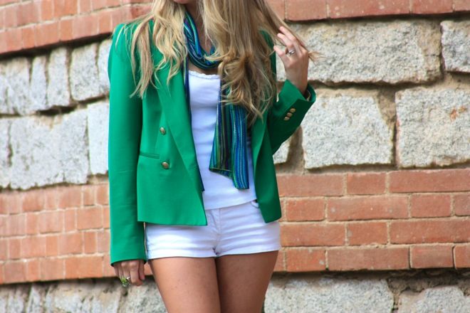 green jacket, outfit, blazer, white