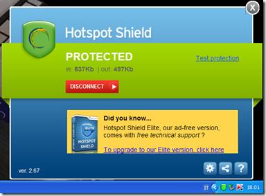 Hotspot Shield Free attivo connessione internet protetta e anonima