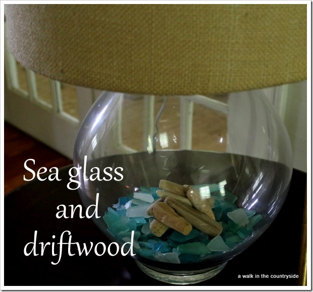 sea glass & driftwood  in lamp